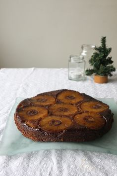 This is how pineapple upside down cake should look-dark caramel crusty edges from a cast iron skillet and no cherries.