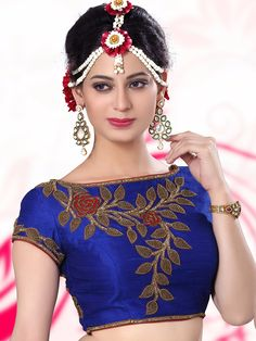 Blue Raw Silk Designer Ready Made Blouse For price or detail do whatsApp +91-9913433322