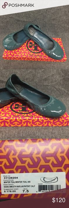 Tory Burch Eddie-Smooth Patent Calf Like new! Tory Burch Eddie-Smooth Patent Calf in winter teal, soft and comfortable for daily wear Tory Burch Shoes Flats & Loafers