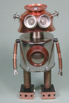 """BOSLEY"" Found Object Robot Sculpture Assemblage by Sally Colby"