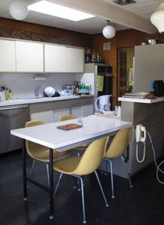 Original Eichler Kitchen - soft gray lower cabinet idea with white uppers and white counters