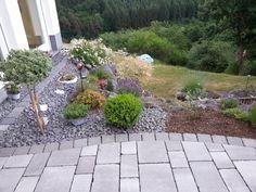 Beet mit steinen  garten design mit einer deko aus kleinen steinen, grünen pflanzen ...