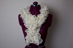 Flounce Ruffle Scarf  Ivory  Ready to Ship by CityGirlCreations98.etsy.com