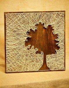 tree silhouette string art diy decoration ideas nice use of negative space String Art Diy, Nail String, Crafts To Do, Arts And Crafts, Arte Linear, Cuadros Diy, Diy Wall, Wall Art, Ideias Diy