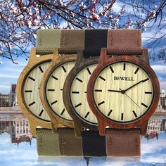 Bewell Simple Design Man Wooden Watch Canvas Band Round Dial Watch Zs-W134A Sm