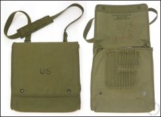 1960's Vietnam War Era US Army OD-7 Map Case & Photo Bag, Butte Sheltered Wksp.