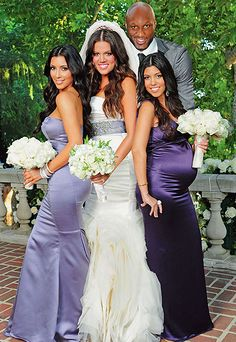 NOW IT ALL MAKES SENSE!  bridesmaids in dark purple, maid of honor in Kim's color