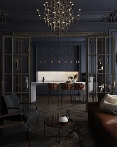Black apartment in St. Petersburg, 75 m² on Behance Luxury Homes Interior, Interior Exterior, Interior Architecture, Large Room Layout, Dream Home Design, House Design, Casa Art Deco, Black Interior Design, Casa Clean