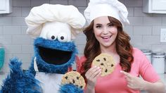 Rosanna Pansino and Cookie Monster Bake a Batch of Tasty Chocolate Chip Cookies