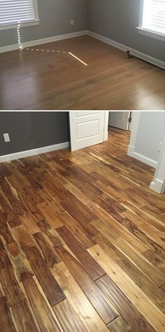 Hot New Makeover! This customer refreshed an old floor with Tobacco Road Acacia - a distressed hardwood! | What's your Spring Flooring Season style?