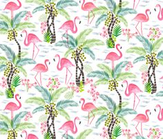 Watercolour Tropical Flamingoes fabric by jill_o_connor on Spoonflower - custom fabric