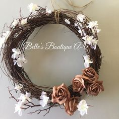 Unique, rustic, woodland decor handmade in Australia von BellesBoutiqueAU White Wreath, Grapevine Wreath, Wedding Wreaths, Wedding Decorations, White Cherry Blossom, Wreaths And Garlands, Woodland Nursery Decor, How To Preserve Flowers, Valentine Wreath