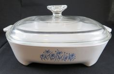 Corning Ware White with Blue Daisy Microwave by CheekyBirdy