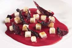 Parmesan rice cream with red beetroot sauce