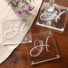 These engraved glass coasters are stunning! I love the lettering! These would be a great housewarming or wedding gift! #Coasters #Wedding #home