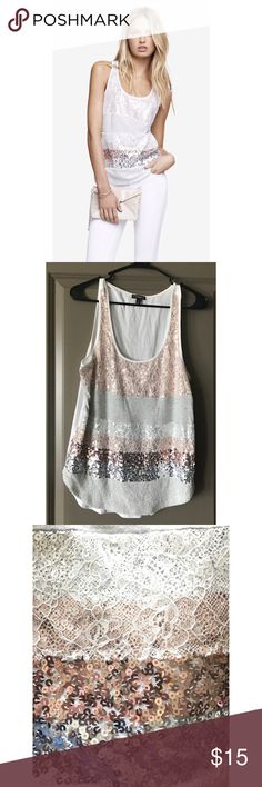 Express lace sequin striped tank Striped front that dazzles with alternating heathered cotton, lace-covered sequins, and regular sequins. Scooped neck, shirttail hem, can dress it down with jeans or dressy enough to wear out! Never worn! Express Tops Tank Tops