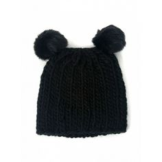 Choies Black Pom Bobble Ears Beanie Hat ($9.90) ❤ liked on Polyvore featuring accessories, hats, black, pompom hat, beanie cap, bobble hat, beanie cap hat and bobble beanie