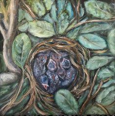 Nid d'amour huile Odette Roy - Artiste peintre Artist, Artists