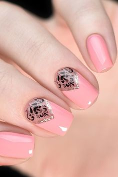 Pink Mani with Black Accents picture 2