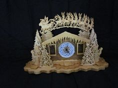 """Christmas clock, has a 2 3/4"""" insert. t is handmade by me in my shop. You can see my work at etsy enter davessawdustfactory. Thank you"""