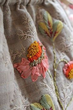ON DROPCLOTH CURTAINS Gorgeous stitching #ribbon #embroidery #flowers