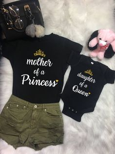 Mommy and Me Outfits, Mother of a princess, Daughter of a Queen, Mom Daughter Gift Mothers Day Gifts Baby Shower Mother's Matching Shirts – Baby Clothes Mother Daughter Matching Outfits, Mommy And Me Outfits, Mom Daughter, Baby Outfits, Mother Daughters, Mother Daughter Shirts, Mother Daughter Fashion, Mommy Baby Matching Outfits, Baby Shower Outfits
