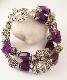Grape Rocks Double Strand Bracelet- Bold Amethyst Nugget and Sterling Silver Bracelet