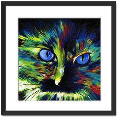 Colorful portrait of a cat Cat art cat painting by DannysStuff15