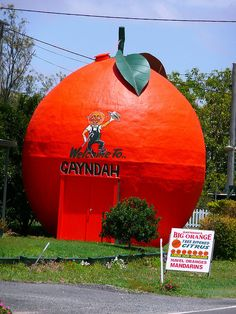 "The big orange in Gayndah, ""the citrus capital of Queensland,"" has acted as the town's visitors/information center. Featured on http://www.mentalfloss.com/blogs/archives/115895. Photo by Flickr user platypusbloke."