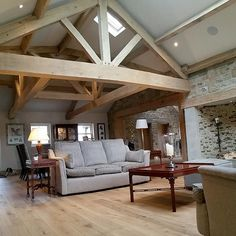 Oak trusses & other roofing components create character & a talking point. Oak trusses, purlins & ridge beams are all made to measure. Home Living Room, Living Spaces, Conservatory Interiors, Roof Truss Design, Oak Framed Buildings, Timber Frame Homes, Timber Frames, Barn Kitchen, Roof Trusses