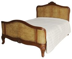 Elegance Rattan Bed Solid Mahogany Antique Wax 4 6 Double Wooden Bed Frame