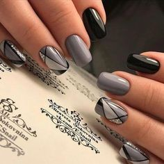 Natural Acrylic Black Almond & Square Nail Designs for Short Nails - Be . - Natural Acrylic Black Almond & Square Nail Designs for Short Nails – Be … – - Square Nail Designs, Short Nail Designs, Nail Art Designs, Nails Design, Toe Designs, Black Nail Designs, Salon Design, Elegant Nail Art, Beautiful Nail Art