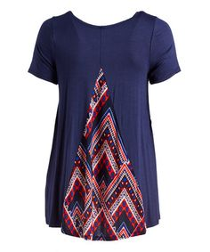 Love this Red & Navy Geometric-Accent Swing Tunic - Plus on #zulily! #zulilyfinds