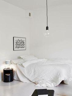 Printable Black and White Art in Minimalist White Bedroom
