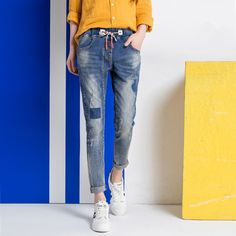 31.61$  Buy now - https://alitems.com/g/1e8d114494b01f4c715516525dc3e8/?i=5&ulp=https%3A%2F%2Fwww.aliexpress.com%2Fitem%2F2016-Women-Elastic-Wasit-Jeans-Woman-Loose-Harem-Jeans-Women-Harem-Slim-Pants-Plus-Size-Jeans%2F32705110951.html - 2016 Women Elastic Wasit Jeans Woman Loose Harem Jeans Women Harem Slim Pants Plus Size Jeans For Women H008