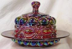 Ruby Red Carnival Glass Round Domed Butter Dish ~ Eyewinker Pattern by Mosser Glass, http://www.amazon.com/dp/B005YSJFSQ/ref=cm_sw_r_pi_dp_fKIrsb1J5E757