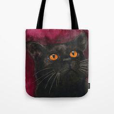 Watercolor Cat 10 Black Cat Tote Bag by Kathleen Wong - $22.00