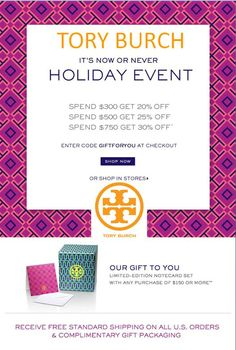 Through Monday, enjoy these AMAZING savings at Tory Burch! Up to 30% OFF + gift with purchase! Use code: GIFTFORYOU. (Click through for more details).