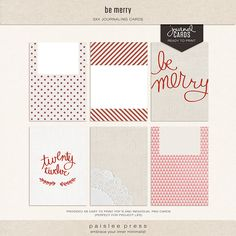 The Lilypad :: Element Packs :: be merry journaling cards