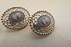 cameo clip ons earrings by TimesTwoBoutique on Etsy, $22.00