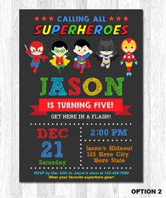 Superhero Birthday Invitation Superhero Invitation by KidzParty