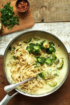 Gluten and dairy free but still delicious fettucine alfredo with Brussels Sprouts. Yummmmmmmm