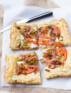 Leek, prosciutto and tomato tart