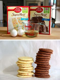 Cake Mix Cookies ~ 1 box cake mix, 2 eggs, 1/2 cup oil.  Beat eggs into oil until well combined.  Add to dry cake mix & blend well.  Drop by rounded tablespoonfuls onto cookie sheet, bake at 350 degrees for 12-14 minutes: do not over-bake.  They'll be puffy & look like they're not done when they first come out of the oven, but will flatten & firm up as they cool.  Makes about 2 dozen cookies.