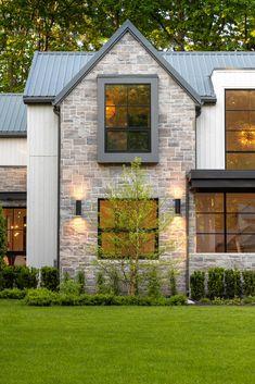 A modern farm house with brick exterior. Custom Home Builders, Custom Homes, Casa Retro, Dream House Exterior, Stone On House Exterior, Stone House Exteriors, Home Exterior Design, Stone Front House, White Exterior Houses