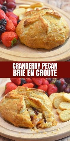 Cranberry Pecan Brie en Croute with creamy brie, dried apricots, and candied pecans baked in a golden flaky puff pastry for an impressive appetizer your guests would be lining up. Perfect for the holiday parties! Easy Appetizer Recipes, Appetizers For Party, Snack Recipes, Dessert Recipes, Pecan Recipes, Bakery Recipes, Bread Recipes, Breakfast Recipes, Brie En Croute