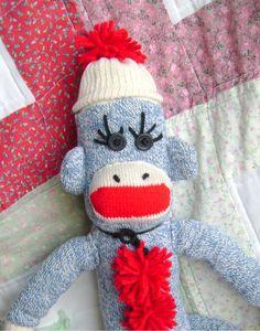 Traditional Handmade Blue Sock Monkey by DeedleDeeCreations