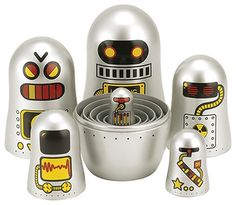 The Original Toy Company Robot Nesting Dolls, Set of 6 - modern - Kids Toys - clickhere2shop - This is soooo cool! $31