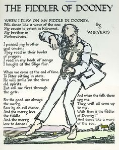 The Fiddler of Dooney, Poem by W.B. Yeats Hand-coloured print