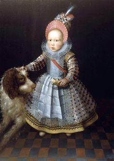 A girl with a dog - Lavina Fontana (24 de agosto de 1552, Bolonia, Italia - 11 de agosto de 1614, Roma, Italia) fue una pintora italiana del primer barroco